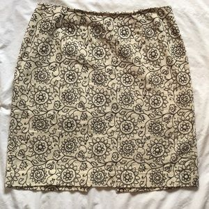 W linen blend embroidered straight skirt